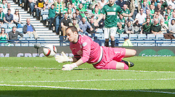 Falkirk's keeper Jamie MacDonald saves from the post. <br /> half time : Hibernian 0 v 0  Falkirk, William Hill Scottish Cup semi-final, played 18/4/2015 at Hamden Park, Glasgow.