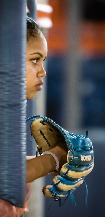 11/4/167:29:34 PM --- Softball --- A Vanguard player looks on during their game against Cal State Fullerton at Anderson Family Field in Fullerton, CA.<br /> <br /> Photo by Brian Rothmuller, Sports Shooter Academy