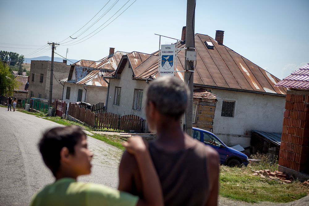 Juraj and his son walking down the main road in the village of Rankovce. Rankovce is located about 30 km from Kosice and has all together 788 inhabitants. About 80% of them are of Roma ethnicity (629). The overall unemployment rate is about 75%, and estimated about 99% in between the Roma community. The foundation ETP Slovakia has a project in Rankovce setting up micro-loan funds for the local Roma community.