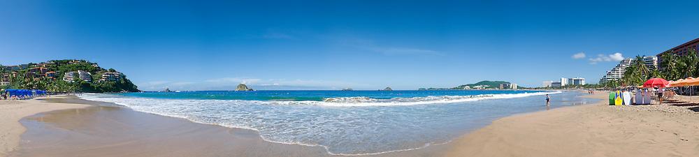 Beach at Ixtapa, a planned resort area near Zihuatanejo. High resolution panorama.
