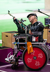 TOKYO, JAPAN - SEPTEMBER 03: Didier Richard of Team France competes in the R6 - Mixed 50m Rifle Prone SH1 Qualification on day 11 of the Tokyo 2020 Paralympic Games at Asaka Shooting Range on September 4, 2021 in Asaka, Japan. Photo by Vid Ponikvar / Sportida