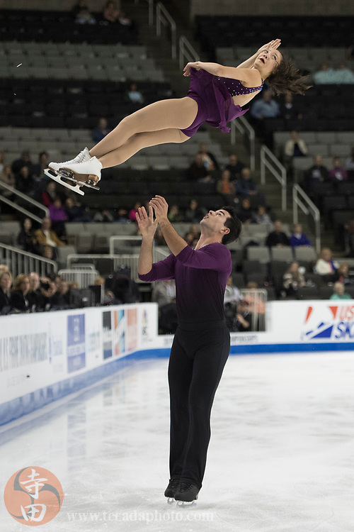 January 4, 2018; San Jose, CA, USA; Chelsea Liu and Brian Johnson performs in the pairs short program during the 2018 U.S. Figure Skating Championships at SAP Center.