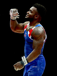 Great Britain's Courtney Tulloch after performing on the rings in the Men's Gymnastics Team Final during day ten of the 2018 European Championships at the SSE Hydro, Glasgow.