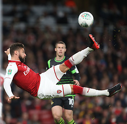 20 September 2017 London : EFL Cup Football : Arsenal v Doncaster Rovers : Oliver Giroud of Arsenal attempts a spectacular overhead kick.<br /> Photo: Mark Leech