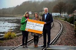 Green Party, Train Line Petition, 27-11-2019<br /> <br /> Scottish Greens launch train line petition. Parliamentary co-leader Alison Johnstone and Mid Scotland and Fife MSP Mark Ruskell joined Dunfermline and West Fife candidate Mags Hall in launching the campaign to re-open the train line which would link Dunfermline to Alloa, Glasgow and the west.<br /> Alison Johnstone in green<br /> Mags Hall in grey<br /> Mike Ruskell MSP<br /> <br /> (c) David Wardle | Edinburgh Elite media