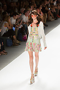 Lace and patchwork dress. By Custo Barcelona at the Spring 2013 Fashion Week show in New York.