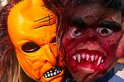 A3ABKA Two children wearing Halloween masks