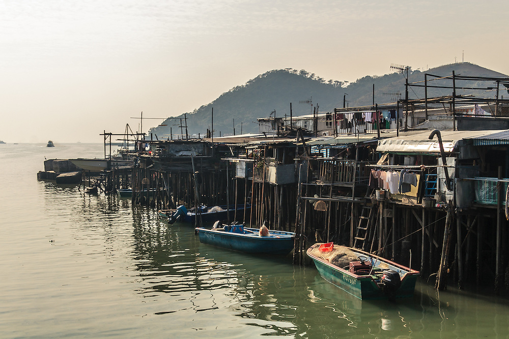 The pang uks, a kind of stilt house, in Tai O fishing village on Lantau Island in Hong Kong. Tai O is the home of the Tanka people, a community of fisher folk.
