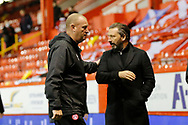 Aberdeen Manager Derek McInnes and Hamilton Academicals Manager Brian Rice leave the pitch during the Scottish Premiership match between Aberdeen and Hamilton Academical FC at Pittodrie Stadium, Aberdeen, Scotland on 20 October 2020.