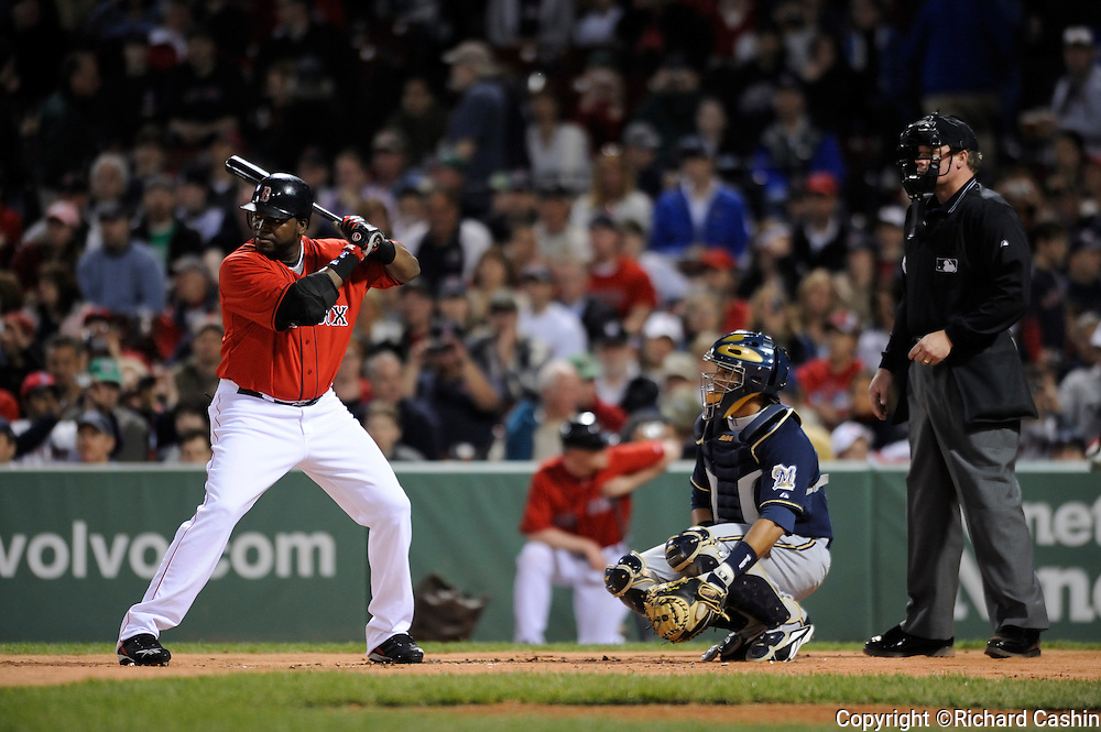 17 May 2008: David Ortiz of the Boston Red Sox running to third base as Kevin Youkilis dobles to left-center field during the 1st inning of game two of the doubleheader at  Fenway Park, Boston MA.  Boston Red Sox beat Milwaukee Brewers 7-6.