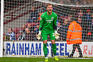 Jak Alnwick of Scunthorpe United (25) in action during the EFL Sky Bet League 1 match between Scunthorpe United and Bradford City at Glanford Park, Scunthorpe, England on 27 April 2019.