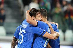 June 4, 2018 - Turin, Piedmont, Italy - Italian players celebrate after the gola of Simone Zaza during the friendly football match between Italy and Holland at Allianz Stadium on June 04, 2018 in Turin, Italy. Final result: 1-1  (Credit Image: © Massimiliano Ferraro/NurPhoto via ZUMA Press)