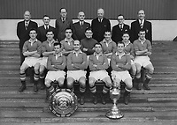Manchester United team group 1952 League Division One Champions. Back row L to R. Tom Curry (Trainer)Mr.Walter Crickmer (Sec)Mr.J.A.Gibson, Dr.W.MacLean, Mr.G.E.Whittaker.Mr.W.H.Petherbridge (Directors)Mr.Matt Busby (Manager).  Middle row L to R. John Downie,Jack Rowley,John Aston,Reg Allen,Allenby Chilton,Roger Byrne,Stan Pearson. Front row L to R. John Berry,Johnny Carey,Henry Cockburn, Thomas McNulty. 8/12/52. Credit : Colorsport