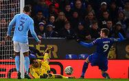 Goalkeeper Claudio Bravo of Manchester City saves a close range shot at goal from Jamie Vardy of Leicester city .Carabao Cup quarter final match, Leicester City v Manchester City at the King Power Stadium in Leicester, Leicestershire on Tuesday 19th December 2017.<br /> pic by Bradley Collyer, Andrew Orchard sports photography.