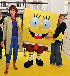 Left to right, JANET STREET-PORTER, SpongeBob SquarePants and TIPHAINE CHAPMAN at a party to launch a range of SpongeBob SquarePants suits and accessories designed by Richard James in partnership with Nickelodeon held at Richard James, 29 Savile Row, London W1 on 11th May 2011.