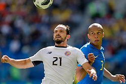 June 22, 2018 - Saint Petersburg, Russia - Miranda (R) of Brazil national team and Marcos Urena of Costa Rica national team vie for the ball during the 2018 FIFA World Cup Russia group E match between Brazil and Costa Rica on June 22, 2018 at Saint Petersburg Stadium in Saint Petersburg, Russia. (Credit Image: © Mike Kireev/NurPhoto via ZUMA Press)