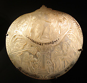 Pearl oyster shells.  Decorated shells were made in the Holy Land from 1700-1900 as souvenirs for pilgrims.  Some have incised decoration closely resembling engravings on paper, which probably served as models. Baptism of Christ (above), Nativity (below left), meeting of Anna and Mary (below right), all labelled in Russian.