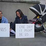 London, England, UK. 13th November 2017. Amnesty International UK - South East Asia gather outside High Commission of Australia in solidarity with more than 600 refugees and vulnerable men inside the Lombrum detention centre on Manus Island rising awareness to the public and to the Australian government have had limited access to food, water, and medical care since services were withdrawn on 31 October.