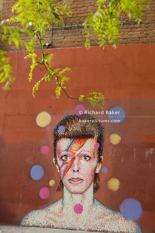 The new mural of iconic musician and singer David Bowie has appeared on the wall of Morleys department store in Brixton, Lambeth, south London. The Bowie face is sourced (by artist James Cochran, aka Jimmy C) from the cover of his 1973 album Aladdin Sane at the height of his 1970s fame. The pop icon lived at 40 Stansfield Road, Brixton, from his birth in 1947 until 1953. This cover appeared in Rolling Stone's list of the 500 greatest albums of all time, making #277.