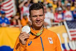 19-08-2016 BRA: Olympic Games day 14, Rio de Janeiro<br /> BMX-er Jelle van Gorkom zielsgelukkig met het veroveren van een zilveren plak. Hij werd in de finale tweede achter de Amerikaan Connor Fields en had daar al gauw vrede mee.