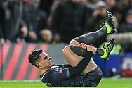Sheffield Wednesday midfielder Joey Pelupessy (8) after collision with Chelsea midfielder Ethan Ampadu (44) (not in the picture) during the The FA Cup fourth round match between Chelsea and Sheffield Wednesday at Stamford Bridge, London, England on 27 January 2019.