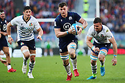Scott Cummings of Scotland (C) in action with Alessandro Zanni (L) and Braam Steyn (R) of Italy during the Guinness Six Nations 2020, rugby union match between Italy and Scotland, Saturday Feb. 22, 2020,in Rome, Italy. (Federico Proietti/ESPA-Images-Image of Sport)