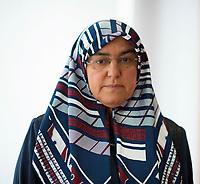 DEU, Deutschland, Germany, Berlin, 12.07.2018: Portrait von Adile Simsek, Witwe von Enver Simsek, nach einer Pressekonferenz der Hinterblieben der NSU-Opfer und ihrer Anwälte zu den gestern gefällten Urteilen im NSU-Prozess.
