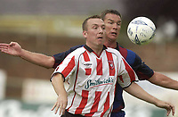 12 August 2003; Liam Coyle, Derry City, in action against Barcelona's Patrick Andersson. Friendly game, Derry City v Barcelona, Brandywell, Derry. Picture credit; David Maher / SPORTSFILE *EDI*