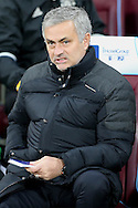 Jose Mourinho, the Manchester United manager looking on from the dugout. Premier league match, West Ham Utd v Manchester Utd at the London Stadium, Queen Elizabeth Olympic Park in London on Monday 2nd January 2017.<br /> pic by John Patrick Fletcher, Andrew Orchard sports photography.