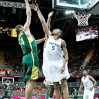 02 August 2012: Lithuania Jonas Valanciunas goes for the skyhook over Nicolas Batum during 82-74 Team France victory over Team Lithuania, during the men's basketball preliminary, at the Basketball Arena, in London, Great Britain.