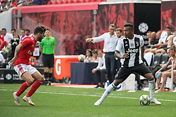 July 28, 2018 - Harrison, New Jersey, United States - Juventus defender ALEX SANDRO (12) looks for a cross while a SL Benfica players looks on during the International Champions Cup at Red Bull Arena in Harrison, NJ.  Juventes defeats SL Benfica 1-1  (Credit Image: © Mark Smith via ZUMA Wire)