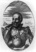Fernando Magellan, half-length portrait, facing left; holding globe and compass