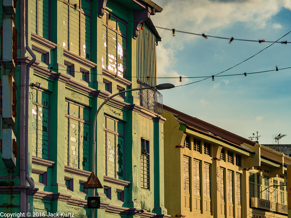 15 NOVEMBER 2016 - GEORGE TOWN, PENANG, MALAYSIA: Traditional colonial style shop house architecture on Campbell Street in George Town, Penang. George Town is a UNESCO World Heritage city and wrestles with maintaining its traditional lifestyle and mass tourism.           PHOTO BY JACK KURTZ