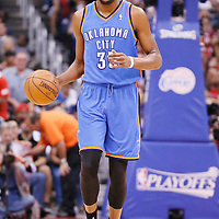11 May 2014: Oklahoma City Thunder forward Kevin Durant (35) brings the ball up court during the Los Angeles Clippers 101-99 victory over the Oklahoma City Thunder, during Game Four of the Western Conference Semifinals of the NBA Playoffs, at the Staples Center, Los Angeles, California, USA.