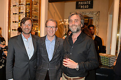 Left to right, TIM KNATCHBULL, ASHLEY HICKS and PHILIP KNATCHBULL at a party to celebrate the publication of India Hicks: Island Style hosted by Princess Marie-Chantal of Greece, Saffron Aldridge and Amanda Brooks has held at Ralph Lauren, 105-109 Fulham Road, London on 28th April 2015,