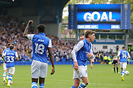 Sheffield Wednesday forward Lucas Joao (18) celebrates his goal during the EFL Sky Bet Championship match between Sheffield Wednesday and Sheffield Utd at Hillsborough, Sheffield, England on 24 September 2017. Photo by Phil Duncan.