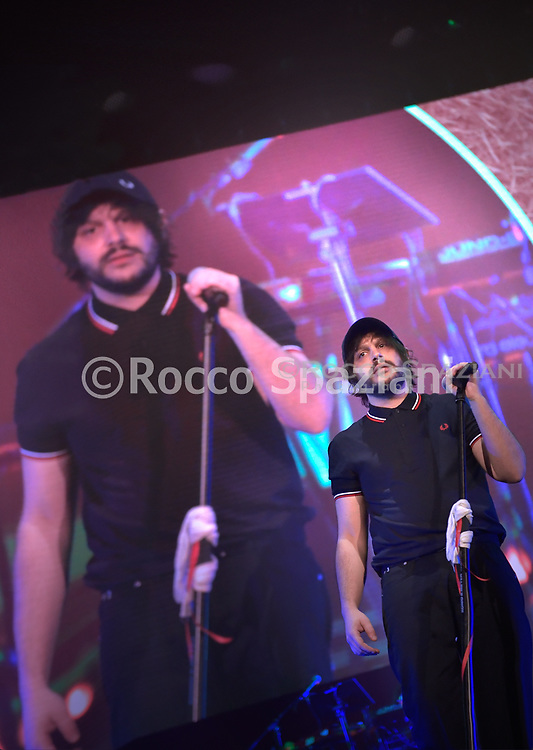 Calcutta performs on stage at Palalottomatica on February 6, 2019 in Rome, Italy.