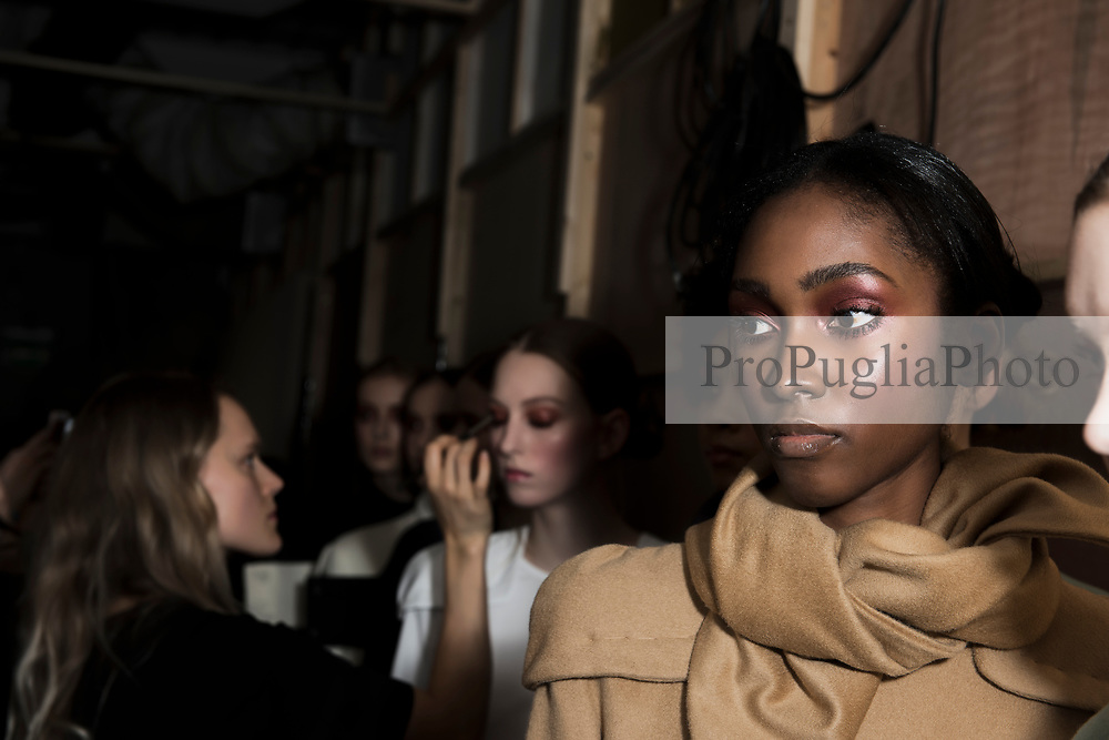 London 21 Septembert 2017. Backstage photos during J.JS Lee Autumn Winter 2017 presentation at London Fashion Week. Born in Seoul, Korea, Jackie Lee spent five years working as a Senior Pattern Cutter in Seoul and two years at KISA London as Master Pattern Cutter. She studied at Central Saint Martins (MA 2010 womenswear) as well as completing the PG Innovative Pattern Cutting course at Central Saint Martins in 2007<br /> <br /> In March 2010, she launched her eponymous label, J. JS LEE featuring sleek androgynous tailored pieces. For her first collection after college, she received NEWGEN sponsorship for SS11 in the exhibition space alongside many established London labels.