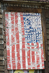 America flag, Heidelberg Project, Detroit, Michigan.  The Heidelberg Project is a grass roots project started by artist Tyree Guyton that uses art to help revitalize the embattled neighborhood.  Each year, over 275,000 people visit the project .  For more information, go to www.heidelberg.org