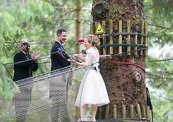 Martin Milner and Colette Gregory arriving to tying the knot in the trees at Go Ape Aberfoyle.