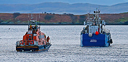 "Oban's RNLB Mora Edith MacDonald assisting the 33 metre cargo vessel ""Havgull"" after being aground at the Falls of Lora, Connel, Argyll....... (c) Stephen Lawson 