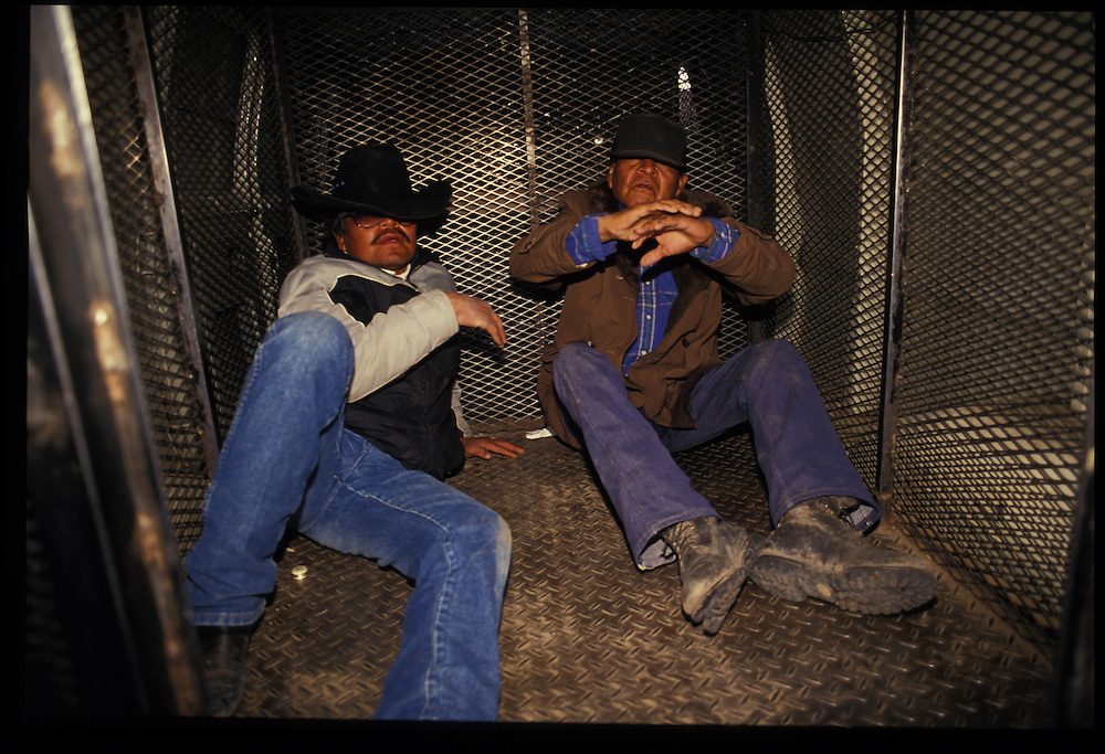 Picked-up on the streets of Gallup, two intoxioicated clients sit in the back of the protective custody van awaiting their ride to the detox center.