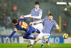 Real Sociedad's Igor Zubeldia (c) and Asier Illarramendi (r) and FC Barcelona's Leo Messi during La Liga Real Sociedad v FC Barcelona match in San Sebastian-Donostia, Spain, January 14, 2018. Photo by Acero/AlterPhotos/ABACAPRESS.COM