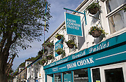 Fresh Cornish pasties sign, Falmouth, Cornwall, England, UK