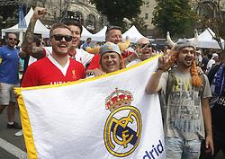 May 25, 2018 - Kiev, Ukraine - Real Madrid's fans pose for photos at the UEFA Champions League Final fan zone in Kyiv, Ukraine, 25 May, 2018. Real Madrid will face Liverpool FC in the UEFA Champions League final at the NSC Olimpiyskiy stadium on 26 May 2018. (Credit Image: © Str/NurPhoto via ZUMA Press)