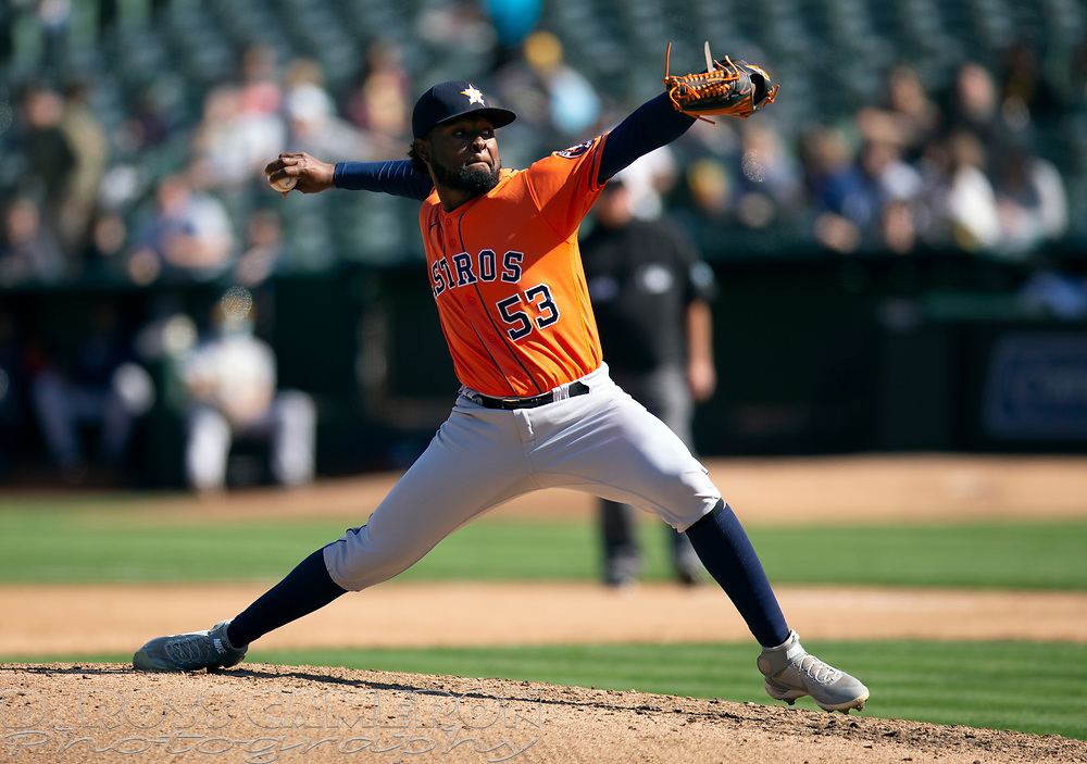 Sep 26, 2021; Oakland, California, USA; Houston Astros pitcher Cristian Javier (53) delivers a pitch against the Oakland Athletics in the fifth inning at RingCentral Coliseum. Mandatory Credit: D. Ross Cameron-USA TODAY Sports