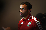 Wales player Hal Robson-Kanu at the Wales football team player media session at the St.David's Hotel in Cardiff , South Wales on Wed 7th October 2015.the team are preparing for their next Euro 2016 qualifying match against Bosnia this weekend.<br /> pic by  Andrew Orchard, Andrew Orchard sports photography.