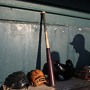Players shadows on the dugout wall before the New Britain Rock Cats Vs Binghamton Mets Minor League Baseball game at New Britain Stadium, New Britain, Connecticut, USA. 2nd July 2014. Photo Tim Clayton