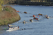 Chiswick. London.  General Views, GV's as crews marshall and progress through the course on the Chiswick bend on the approach to Barnes Rail Bridge. 2011 Women's Head of the River Race, Mortlake to Putney, looking from Chiswick Bridge towards Mortlake. Championship.   Saturday  19/03/2011 [Mandatory Credit, Peter Spurrier/Intersport-images]