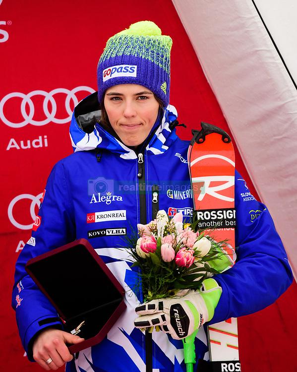 January 7, 2018 - Kranjska Gora, Gorenjska, Slovenia - Petra Vlhova of Slovakia on podium celebrating her third place in Golden Fox Trophy at the Slalom race at the 54th Golden Fox FIS World Cup in Kranjska Gora, Slovenia on January 7, 2018. (Credit Image: © Rok Rakun/Pacific Press via ZUMA Wire)